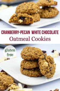 Pinterest pin for Cranberry Pecan White Chocolate Oatmeal Cookies