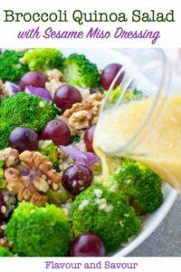 Healthy Broccoli Quinoa Salad with Sesame Miso Vinaigrette