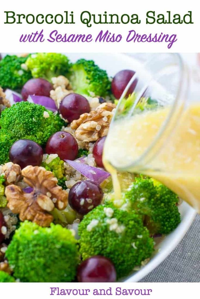 Healthy Broccoli Quinoa Salad with Sesame Miso Vinaigrette