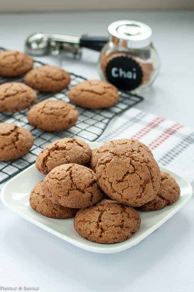 Gluten-Free Chai Spiced Snickerdoodles on a plate