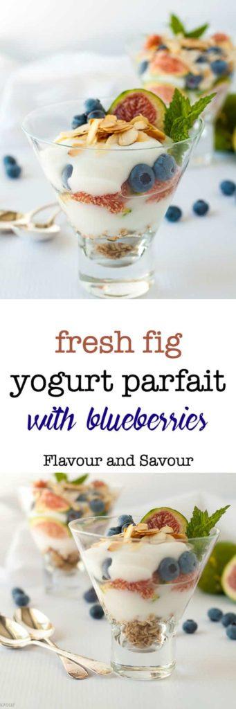 Fresh Fig Yogurt Parfait with blueberries. Breakfast, or dessert!