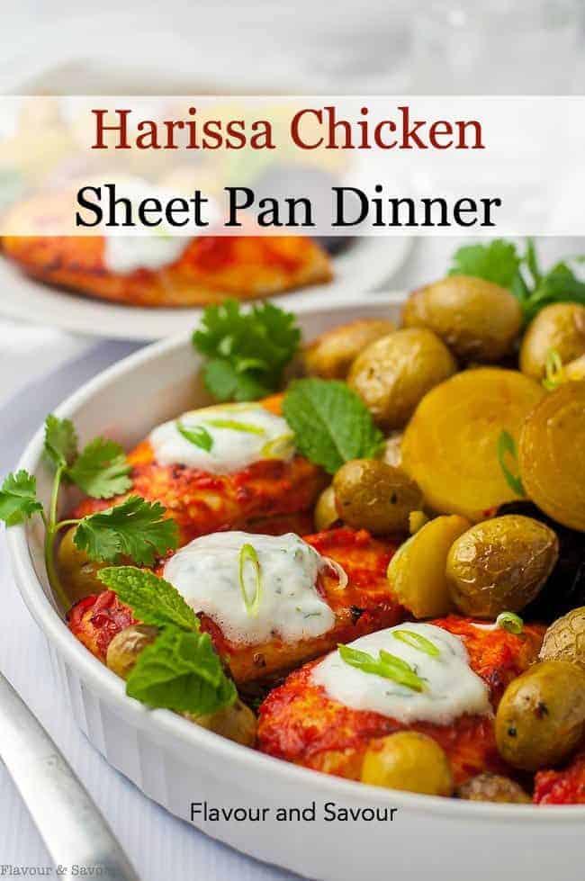 Title for Harissa Chicken Sheet Pan Dinner