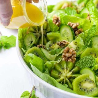 Kiwi Cucumber Salad with Walnuts and Fresh Mint