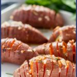 Pinterest Pin for Hasselback Sweet Potatoes