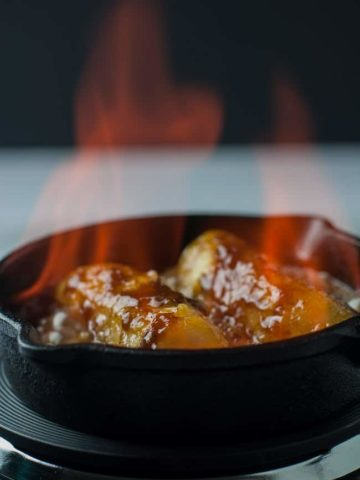 Flaming Caribbean Rum Bananas Flambé with Amaretto