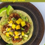 Chipotle Peach Shrimp Tostadas with Mango Salsa title