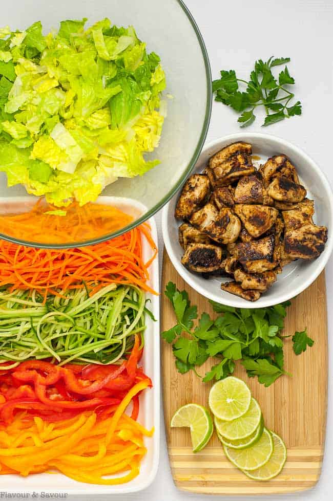 Ingredients for Easiest Chicken Satay Salad