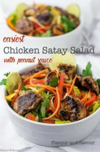 Easiest Chicken Satay Salad. Here's a weeknight-friendly dinner salad full of crisp crunchy vegetables, grilled chicken and a light peanut sauce dressing.