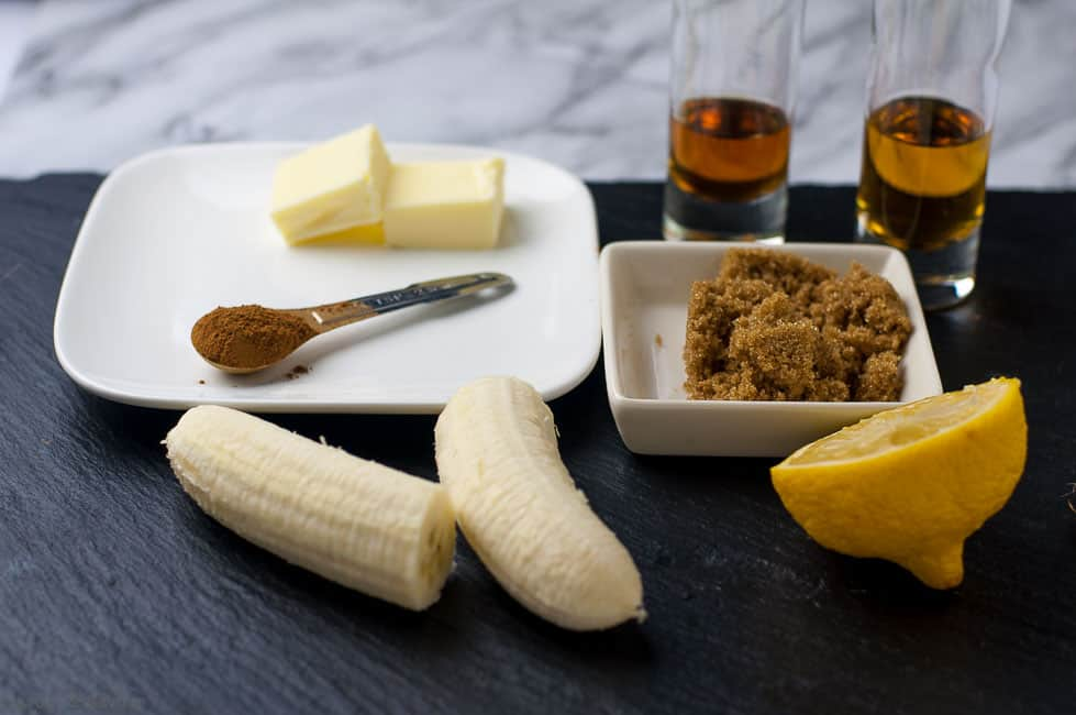 Ingredients for Caribbean Rum Bananas Flambé with Amaretto