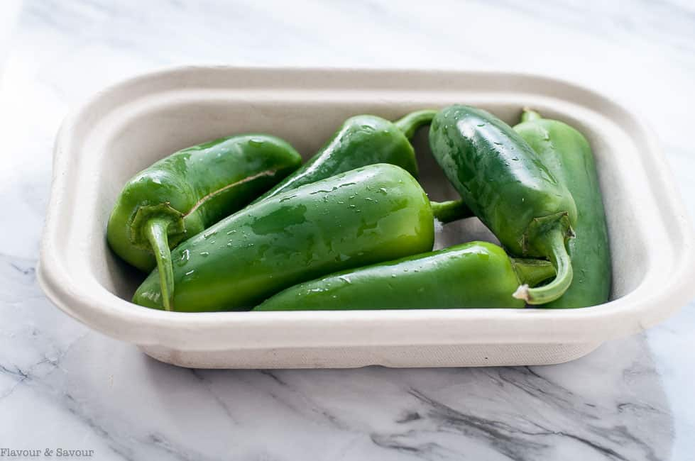 Jalapeño Peppers washed and ready for pickling