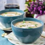 Creamy Roasted Garlic Irish Potato Soup with a mug of Guinness