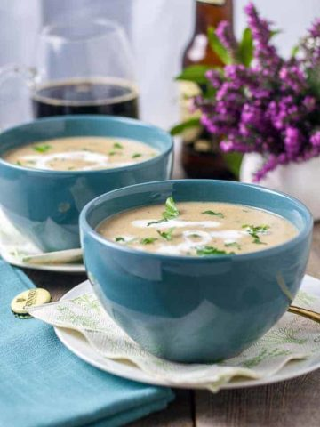 Creamy Roasted Garlic Irish Potato Soup with a mug of Guinness