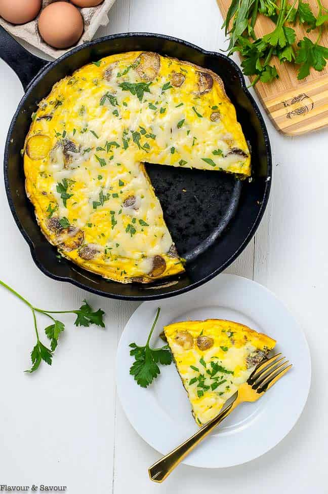 Double Cheese Asparagus Leek Frittata in skillet