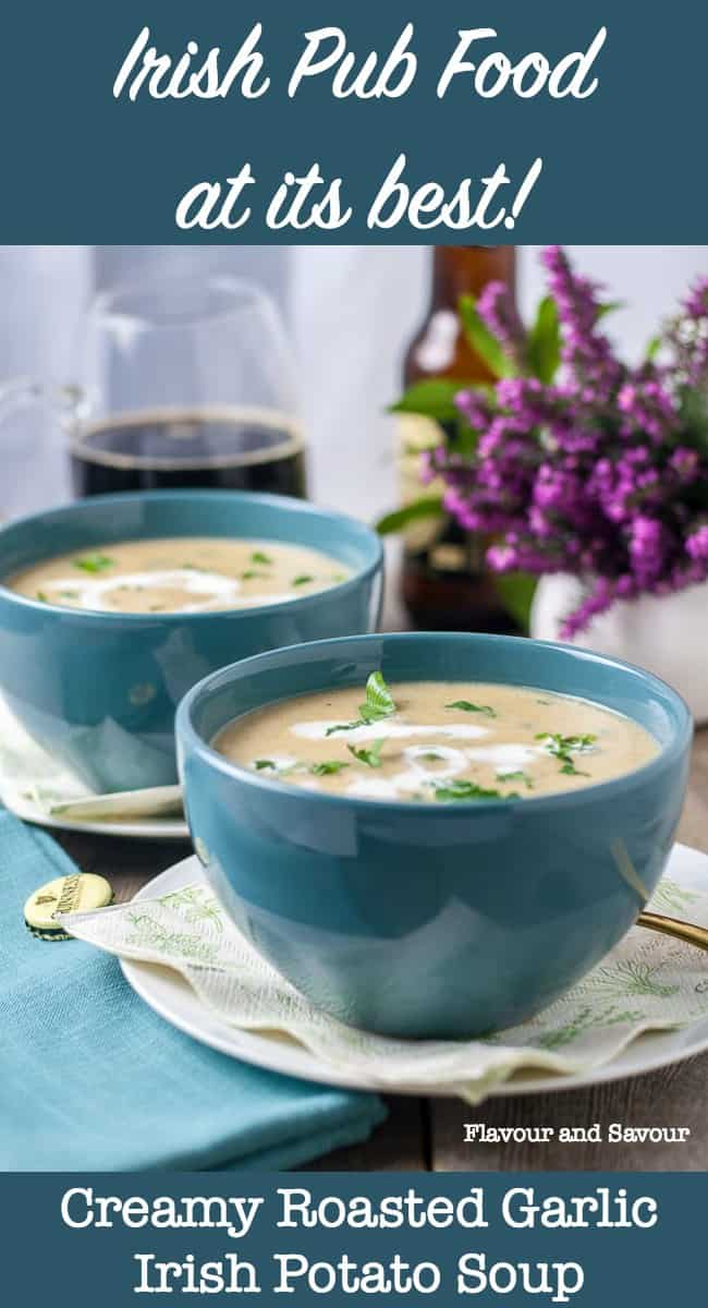 Creamy Roasted Garlic Irish Potato Soup pin