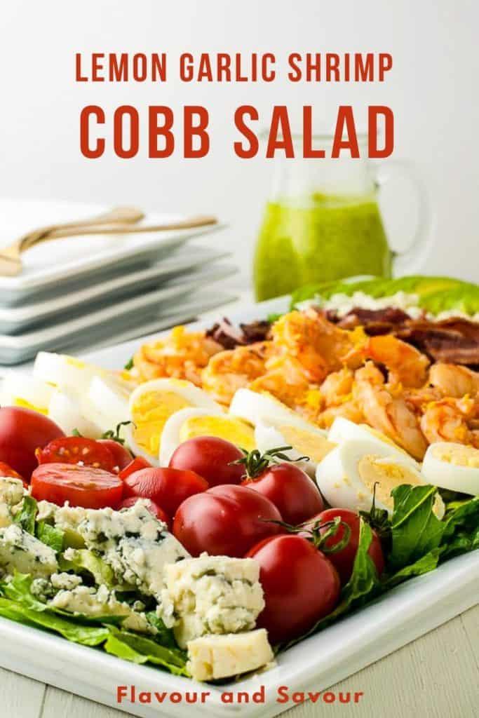 image and text for Lemon Garlic Shrimp Cobb Salad
