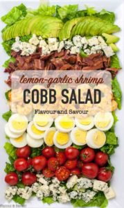 Lemon Garlic Shrimp Cobb Salad title