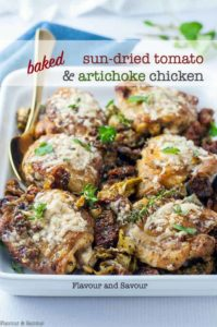 Baked Sun-dried Tomato and Artichoke Chicken with title
