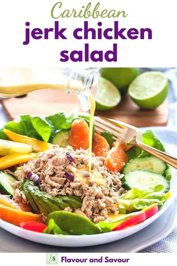 Pinterest pin for Caribbean Jerk Chicken Salad
