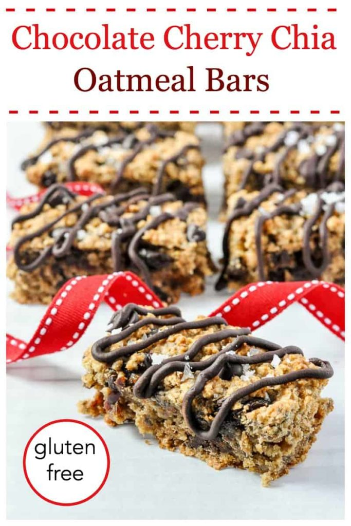 Pinterest pin for Chocolate Cherry Chia Oatmeal Bars