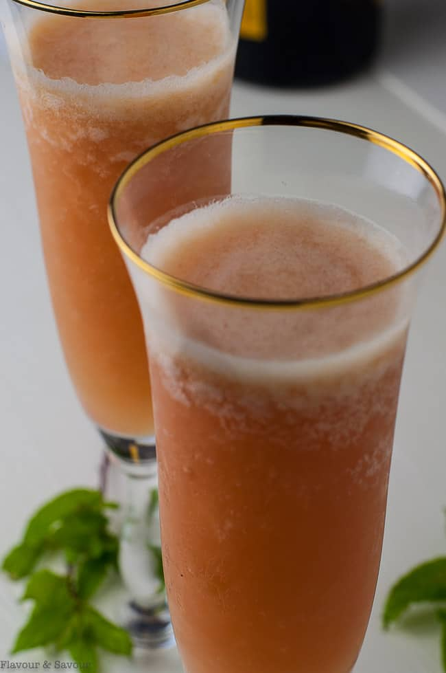 Close up view of Rhubarb Bellini Prosecco Cocktail