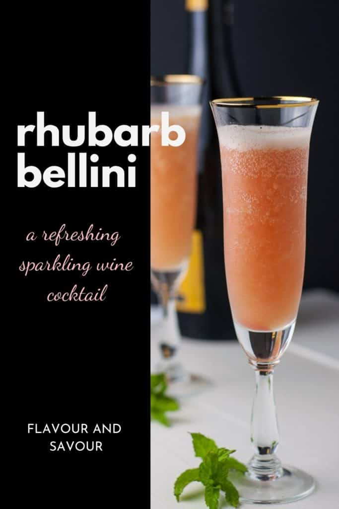 Rhubarb Prosecco Bellini a refreshing sparkling wine cocktail with text overlay