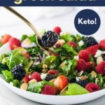 Pinterest Pin for Triple Berry Green Salad with text overlay