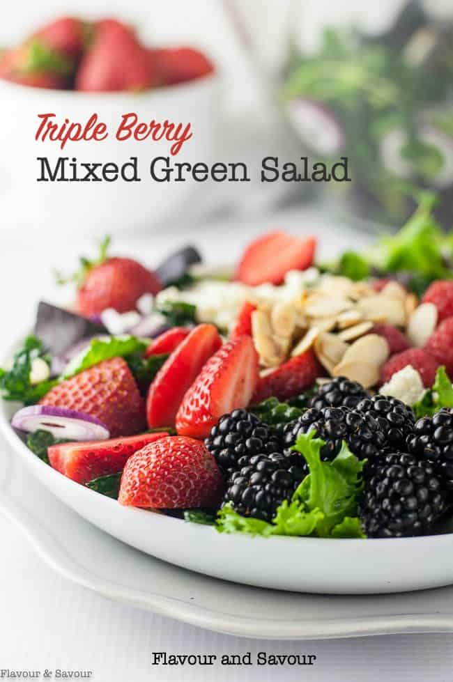Triple Berry Mixed Green Salad with strawberries, raspberries, and blackberries
