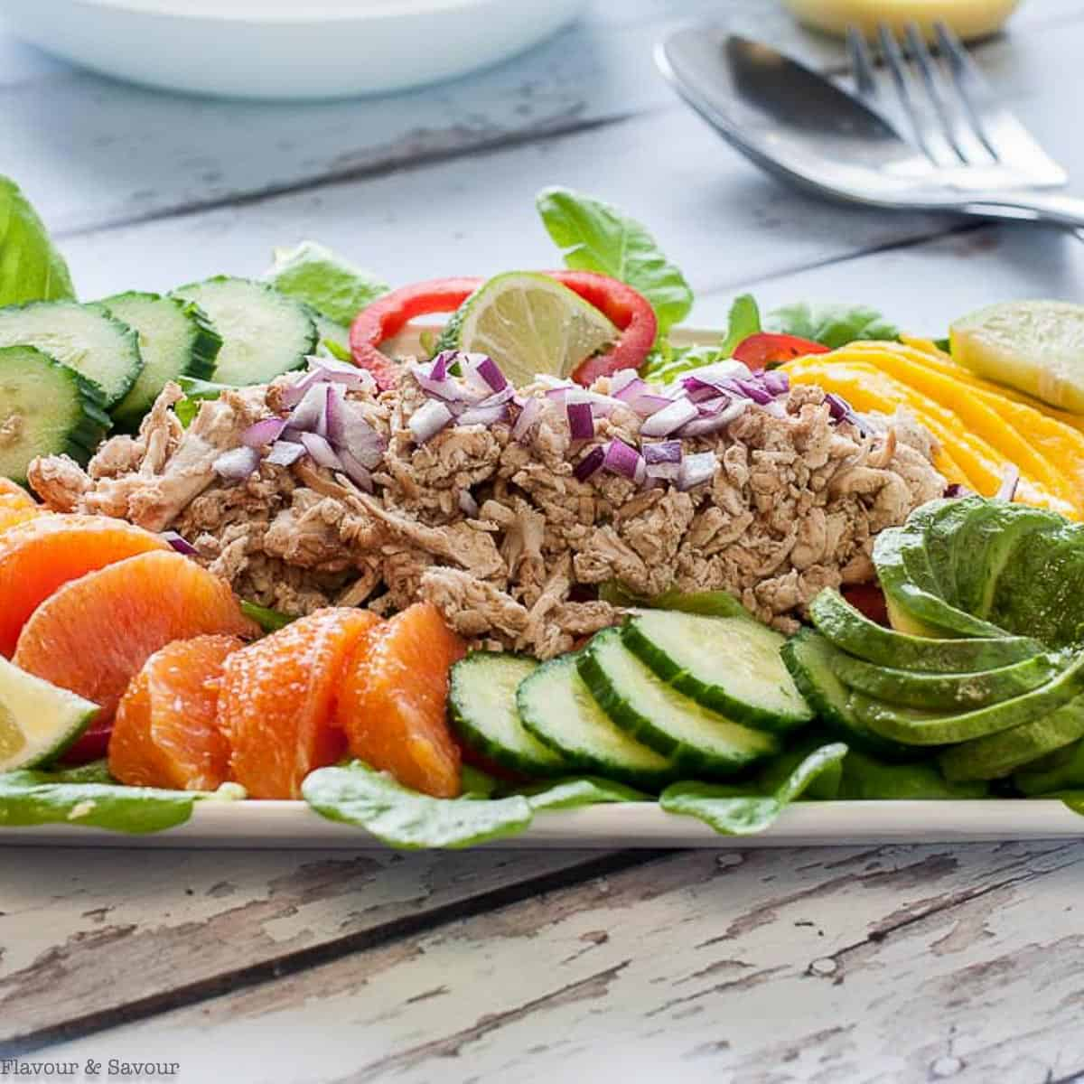 Caribbean Shredded Jerk Chicken Salad Flavour And Savour