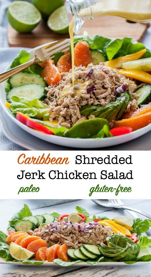 Caribbean Shredded Jerk Chicken Salad with Mango, Oranges, Avocado and Citrus Vinaigrette. Perfectly balanced flavours in a healthy tropical salad. #ShreddedChicken #jerkchicken #chickensalad #mango #oranges #avocado #flavourandsavour