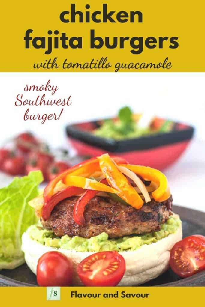 Graphic for Chicken Fajita Burgers with text overlay