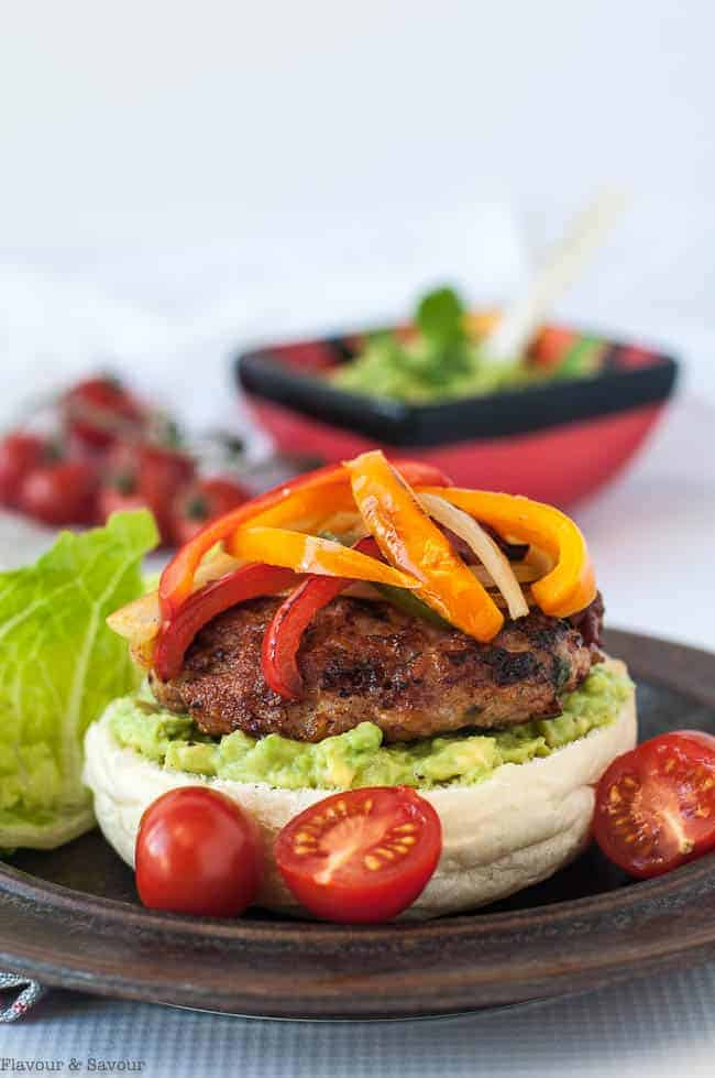 Paleo Chicken Fajita Burgers with Tomatillo Guacamole