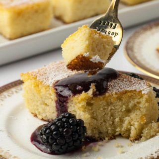 Flourless Lemon Almond Ricotta Cake with Blackberry Coulis