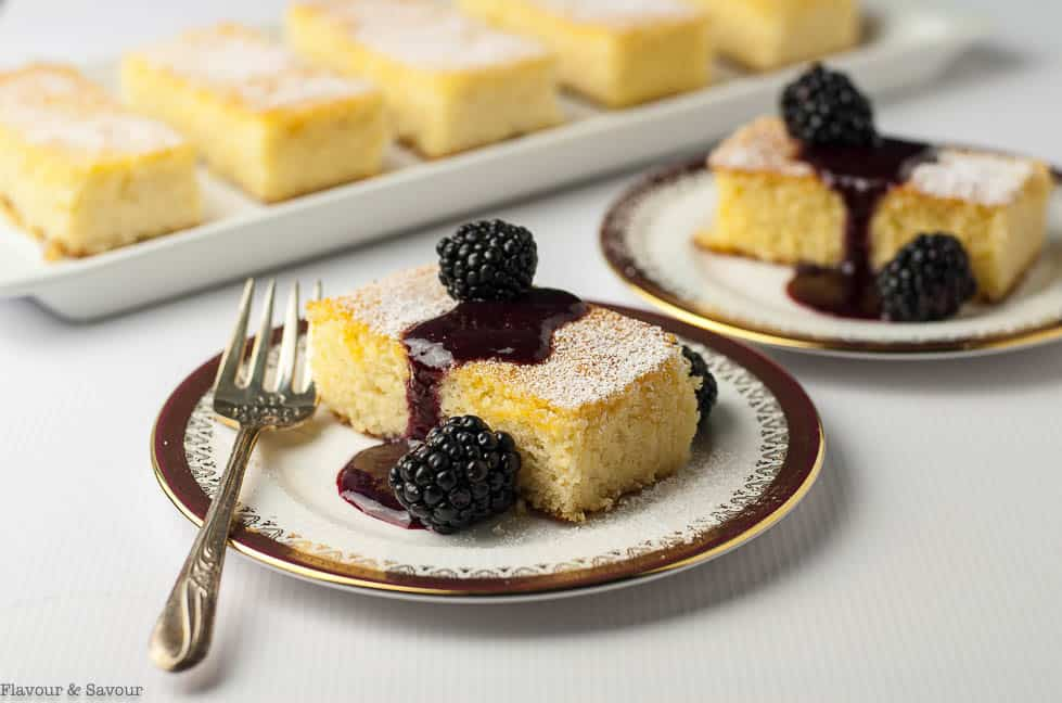 Flourless Lemon Almond Ricotta Cake with Blackberry Coulis and fresh blackberries