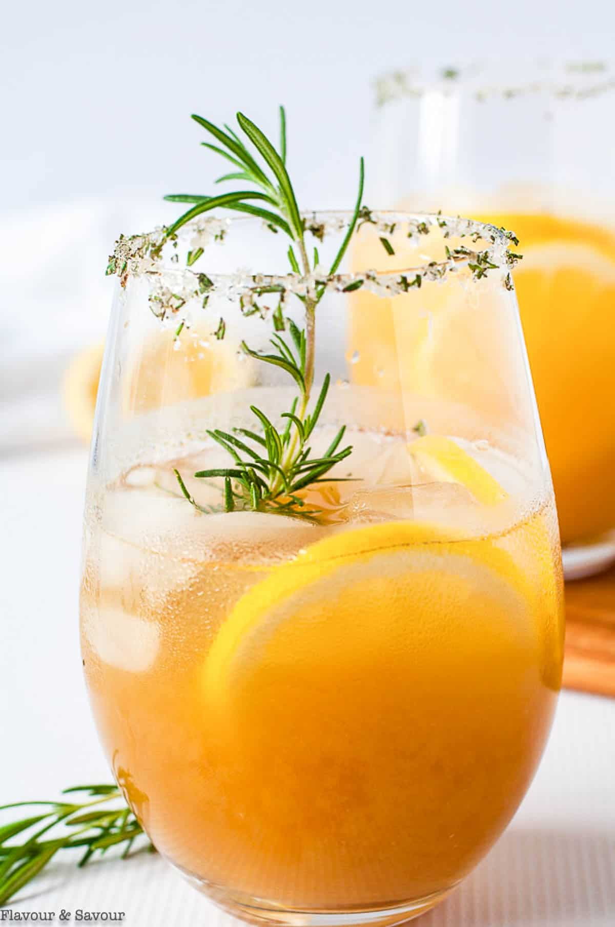 Close up view of Pineapple Ginger Kombucha Cocktail