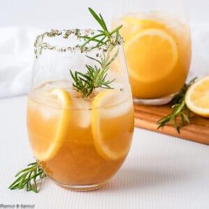 two glasses of pineapple ginger kombucha cocktail