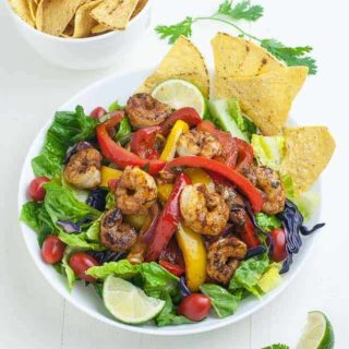 Shrimp Fajita Salad with Honey Lime Vinaigrette overhead view