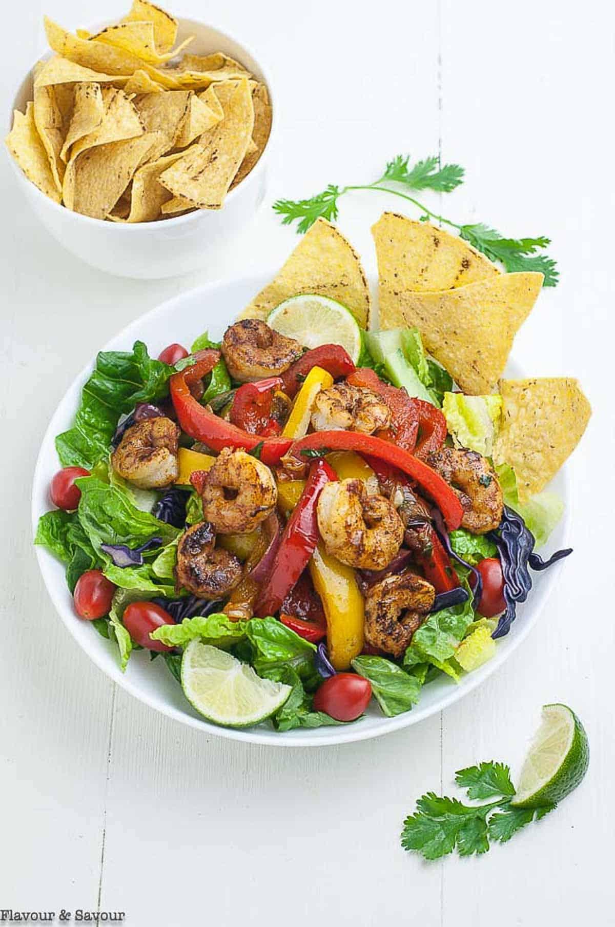 Shrimp Fajita Salad with tortilla chips overhead view