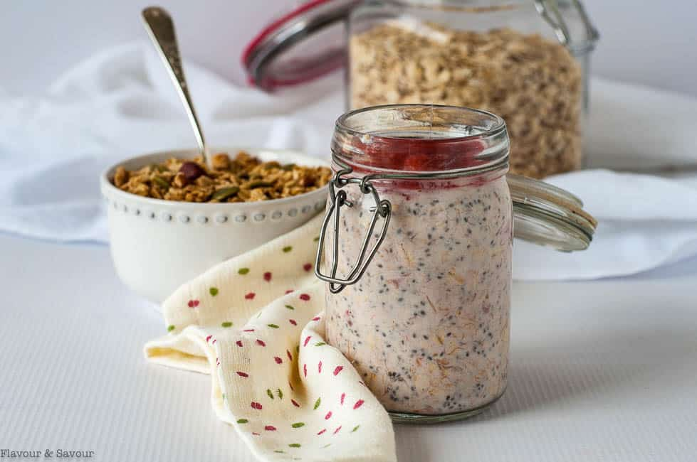 A jar of Creamy Strawberry Rhubarb Overnight Oats