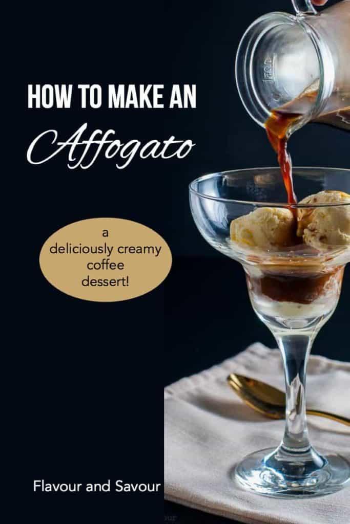 Pinterest pin for Affogato Coffee Dessert