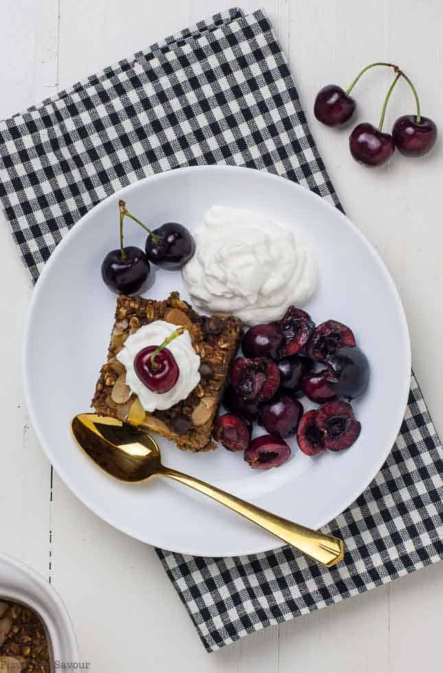 Chocolate Espresso Baked Oatmeal with cherries