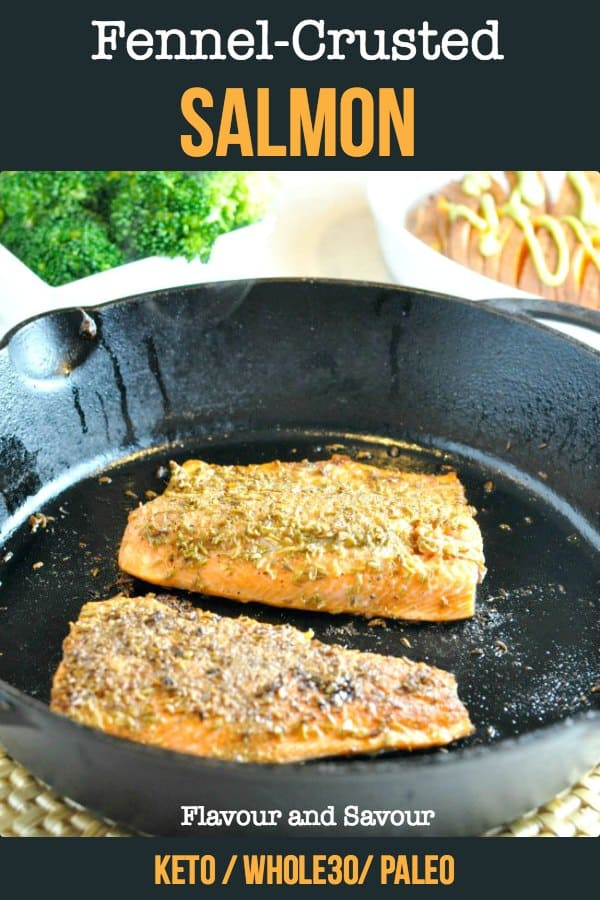 Two fillets of Fennel-Crusted Salmon in a cast-iron pan