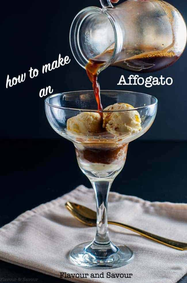 You can easily learn how to make an affogato coffee dessert at home and cutomize it how you wish! This simple espresso ice cream recipe makes a popular showstopper dessert. #affogato #Italian #coffeedessertrecipe #espressoicecream #coffeeicecream