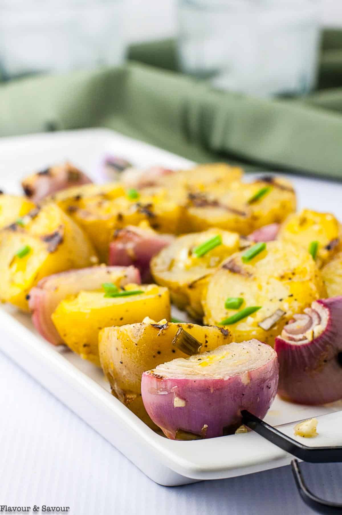 Potato Kabobs skewered with shallots