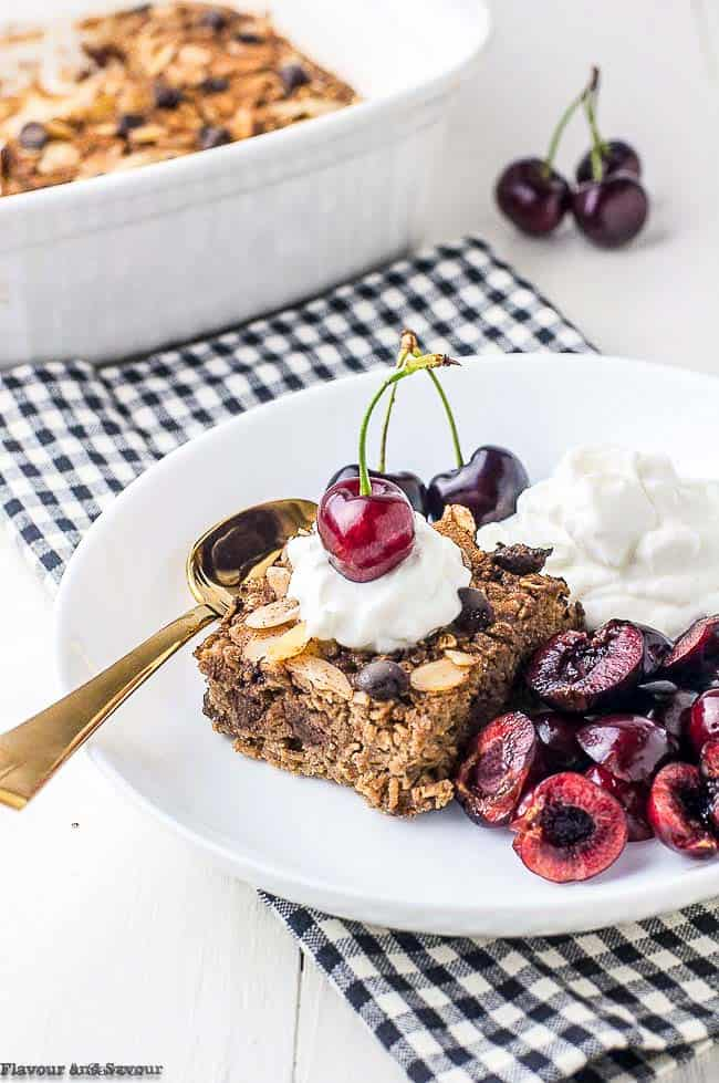 Chocolate Espresso Baked Oatmeal with cherries and yogurt