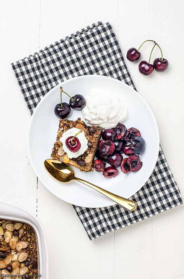 Chocolate Espresso Baked Oatmeal with cherries overhead view