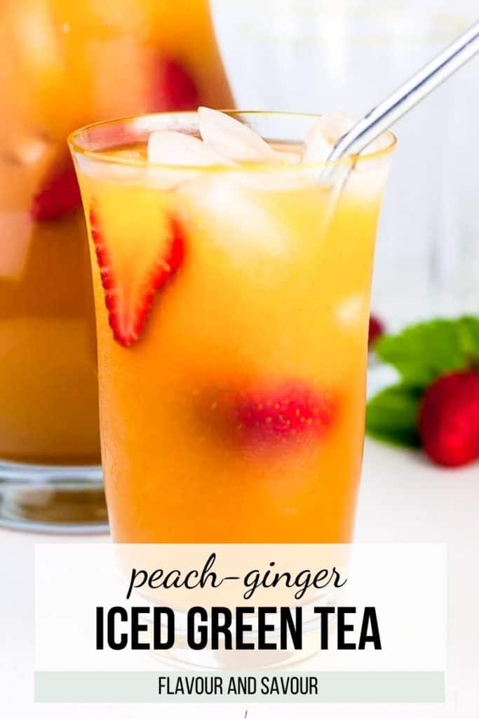 Image and text for Peach Ginger Iced Green Tea