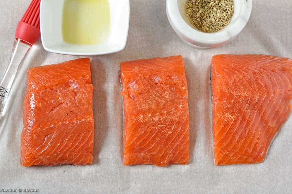 Salmon fillets brushed with olive oil