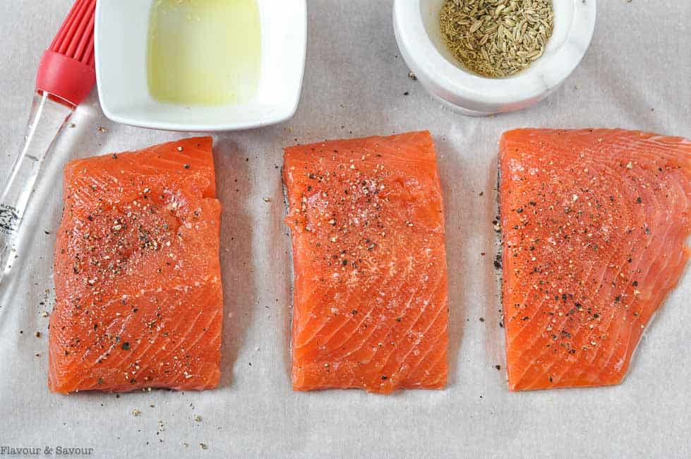 salmon fillets with salt and pepper