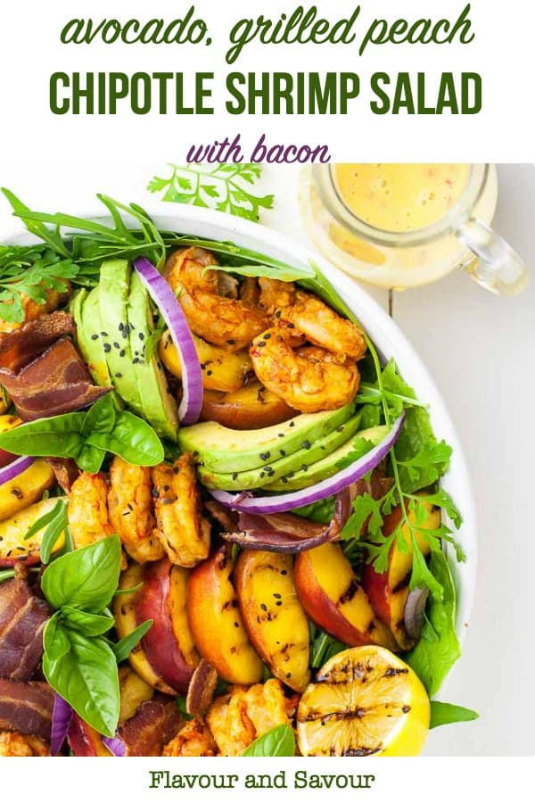 Pinterest pin for Avocado Grilled Peach and Chipotle Shrimp Salad