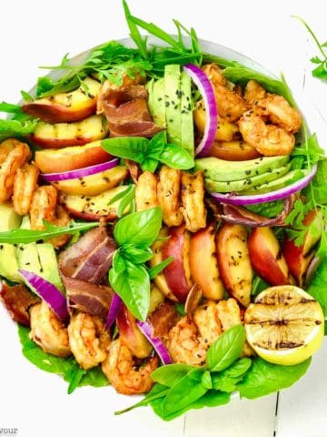 Avocado Grilled Peach and Chipotle Shrimp Salad overhead view